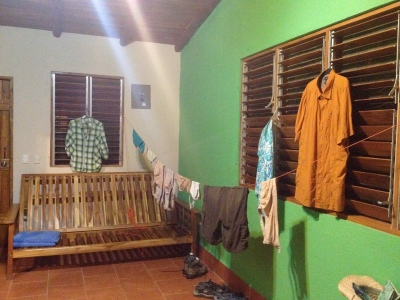 Our room, decorated by laundry